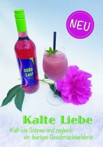 """Man sieht das Slush Eis Getränk der Weingärtnergenossenschaft Sternenfels, die """"Kalte Liebe"""" und den dafür verwendeten Wein """"Süße Lust"""""""