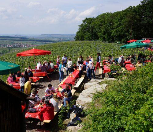 Man sieht zahlreiche Menschen an Holzbänken und -tischen, in einem Weinberg mit herrlichem Ausblick auf das Weinsberger Tal.