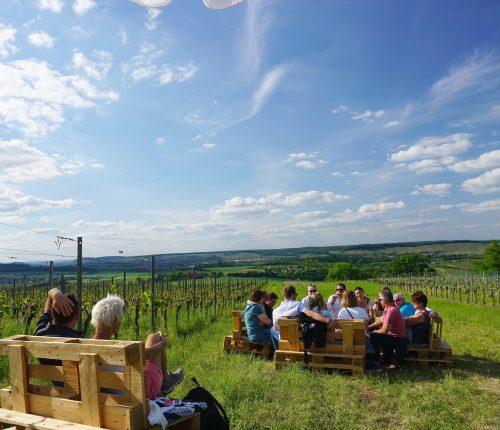 Man sieht eine gemütlich im Weinberg sitzende Menschengruppe und ein Paar, mit herrlichem Ausblick auf das Weinsberger Tal.