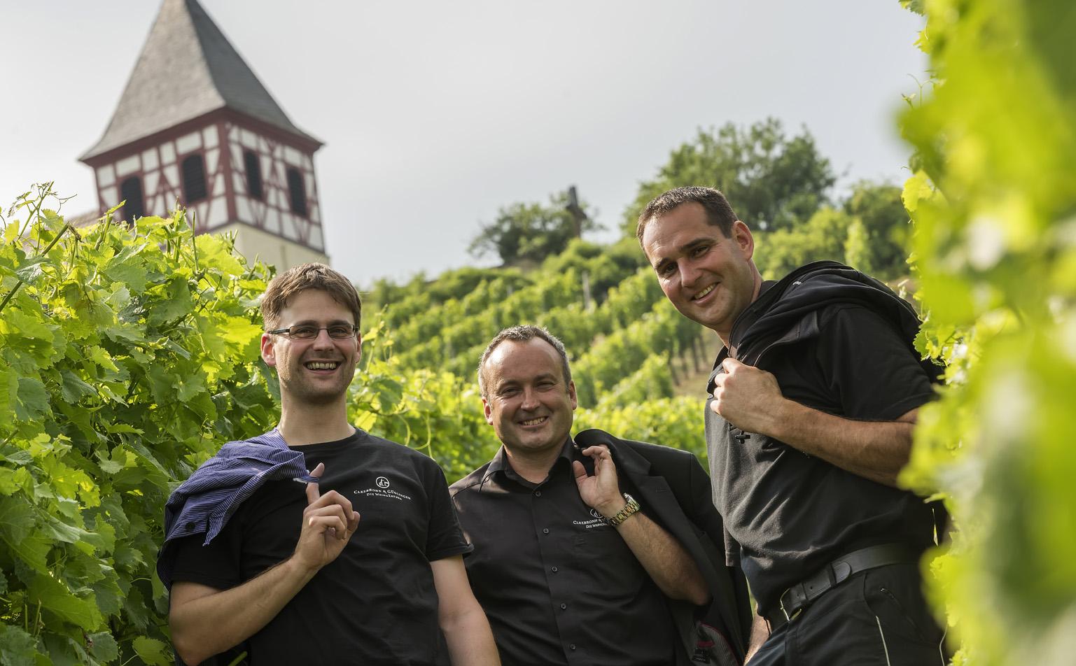 Man sieht Kellermeister Andreas Reichert, Geschäftsführer Axel Gerst und Vorstandsvorsitzender Thomas Beyl von den Weingärtnern Cleebronn & Güglingen