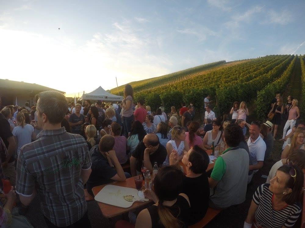 Man sieht zahlreiche Besucher der esecco-Party der Weingärtner Esslingen im Abendrot