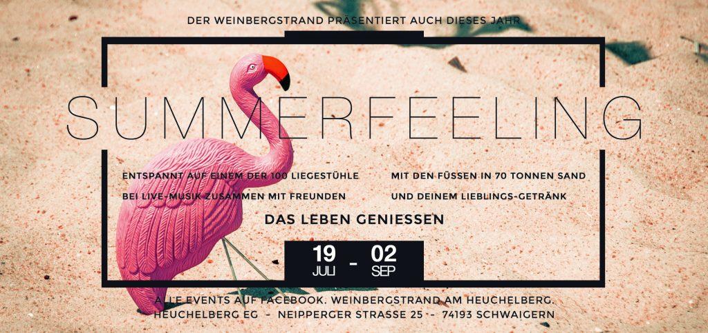 """Man sieht den Werbeflyer der Veranstaltung """"Weinbergstrand am Heuchelberg"""" in Schwaigern, darauf abgebildet ist ein Flamingo."""