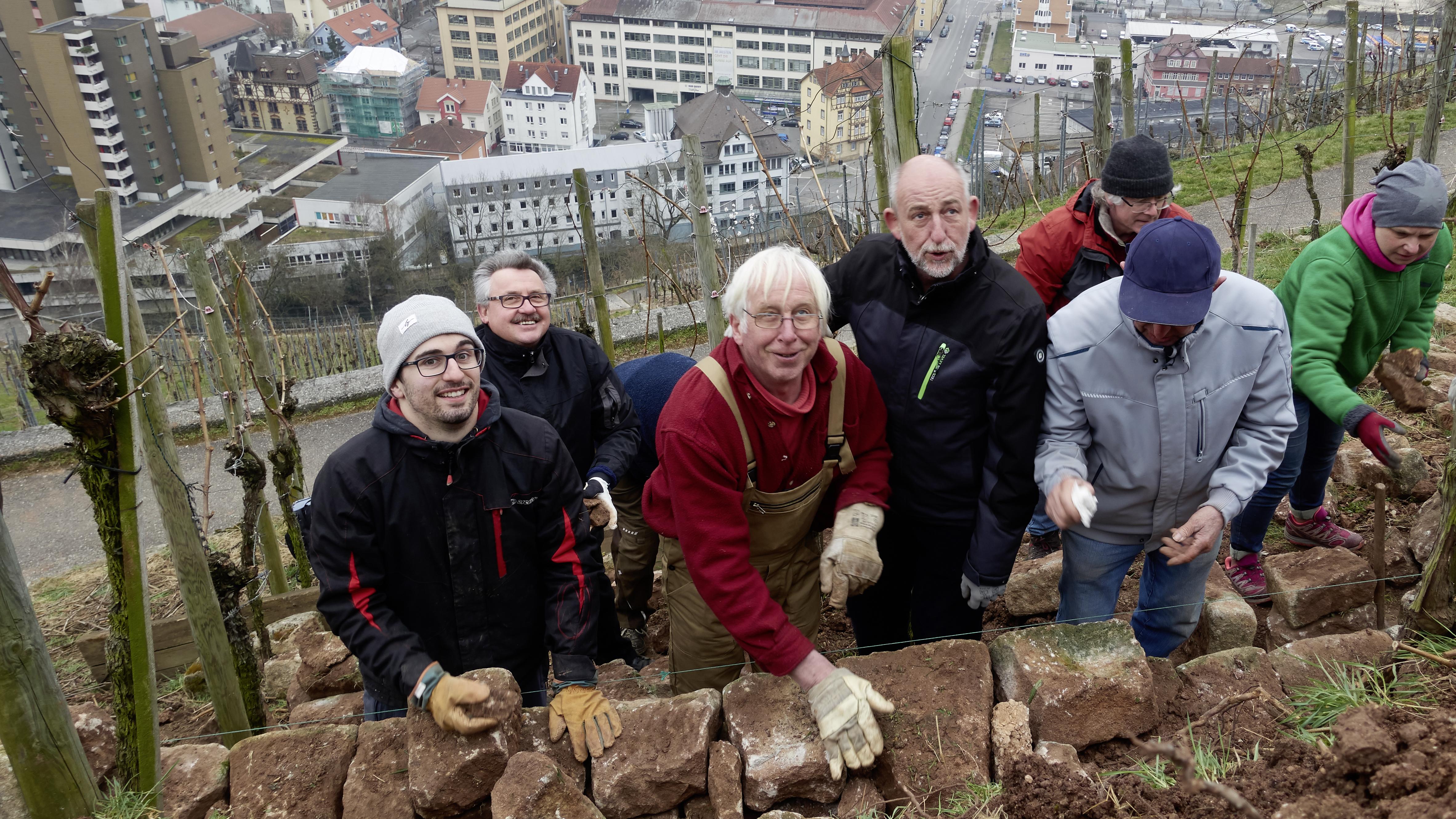 Teilnehmer des Trockenmauer Seminars 2018 der Weingärtner Esslingen