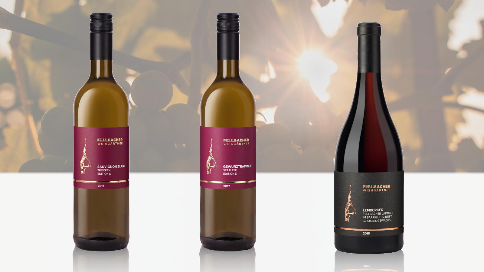Bild von den drei Gold-Weinen der Fellbacher Weingärtner.