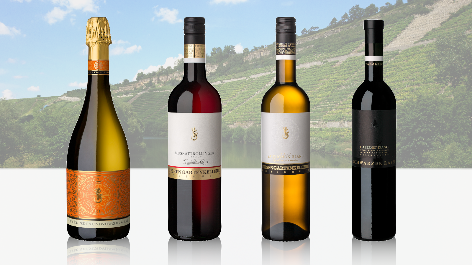 Bild von den vier Gold-Weinen der Felsengartenkellerei Besigheim.