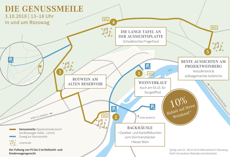 Übersichtskarte der Genussmeile in Rosswag.