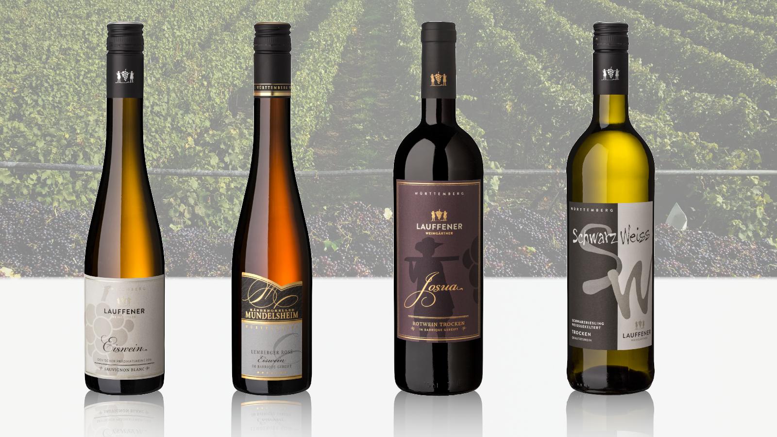 Bild von den vier Gold-Weinen der Lauffener Weingärtner