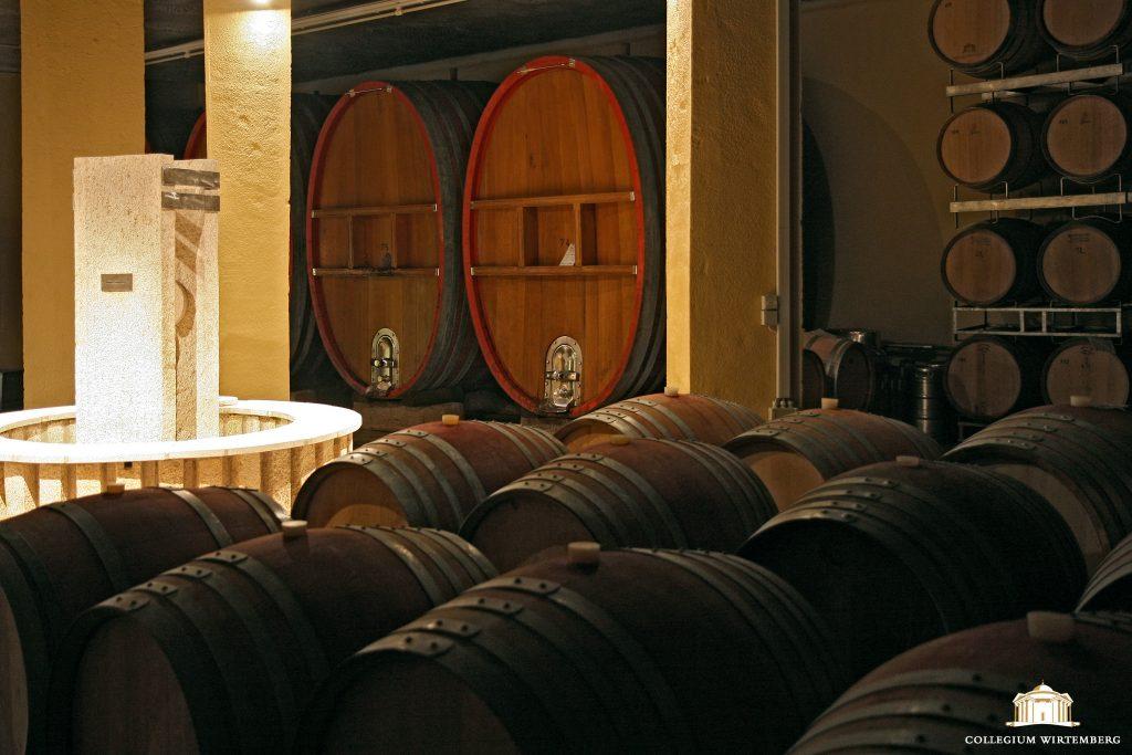 Man sieht den Keller des Fleckensteinbruchs des Collegium Wirtemberg von innen, hier lagern jede Menge Weinfässer.