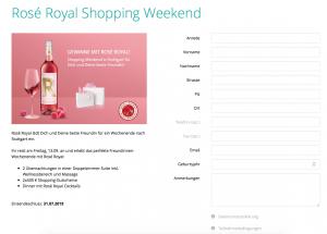Formular für das Gewinnspiel um das Shopping Weekend