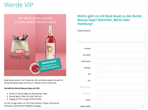 Formular Bunte Beauty Days