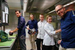 v.l. Azubi Daniel Brutsch, Chef Patissier Roman Schäfer, Sou Chef Andreas Schöffler, Azubi Ann-Kathrin Läpple, Chef Stefan Gschwendtner