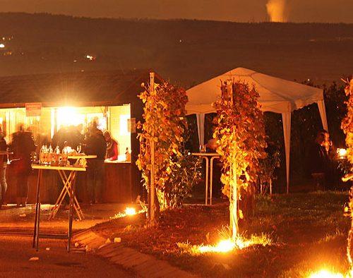 Besucher bei Berg in Flammen
