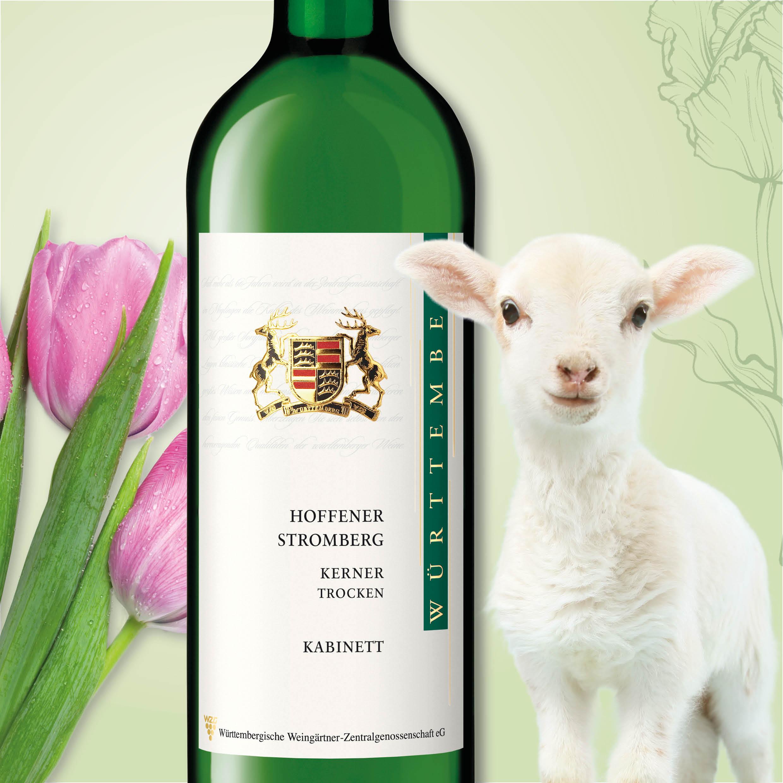 Der Gewinn beim Frühlings-Gewinnspiel im Wein Heimat Blog am 09.04.: Hofener Stromberg Kerner Kabinett der Württembergischen Weingärtner-Zentralgenossenschaft