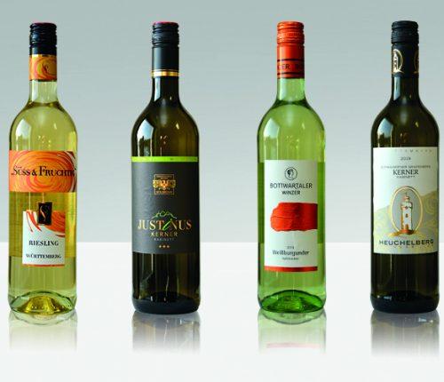 Vier Flaschen von Württemberger Weißburgunder und Kerner