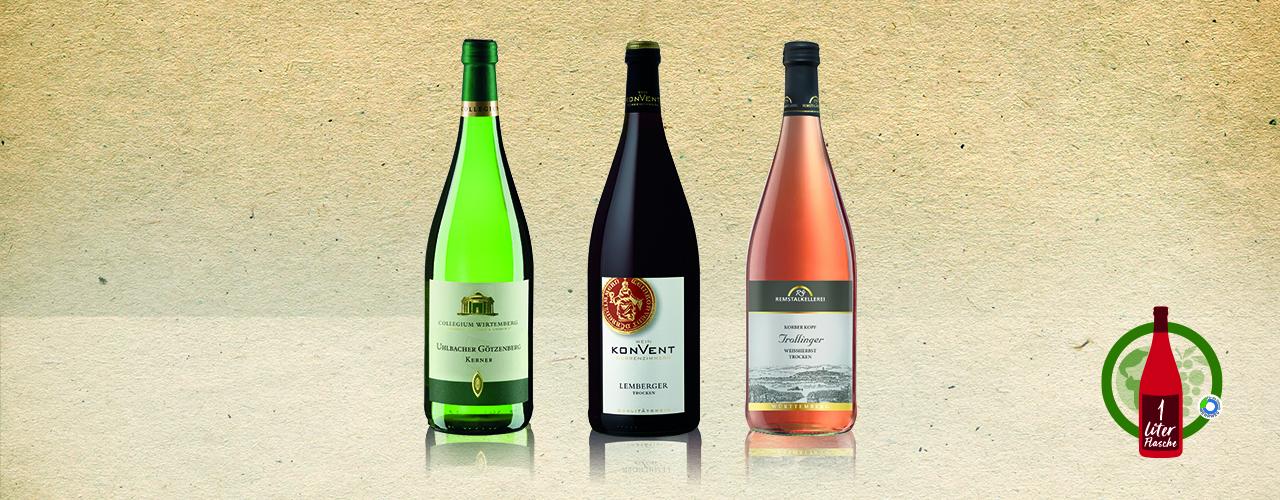 Drei Württemberger Literweine vor einem Papierhintergrund
