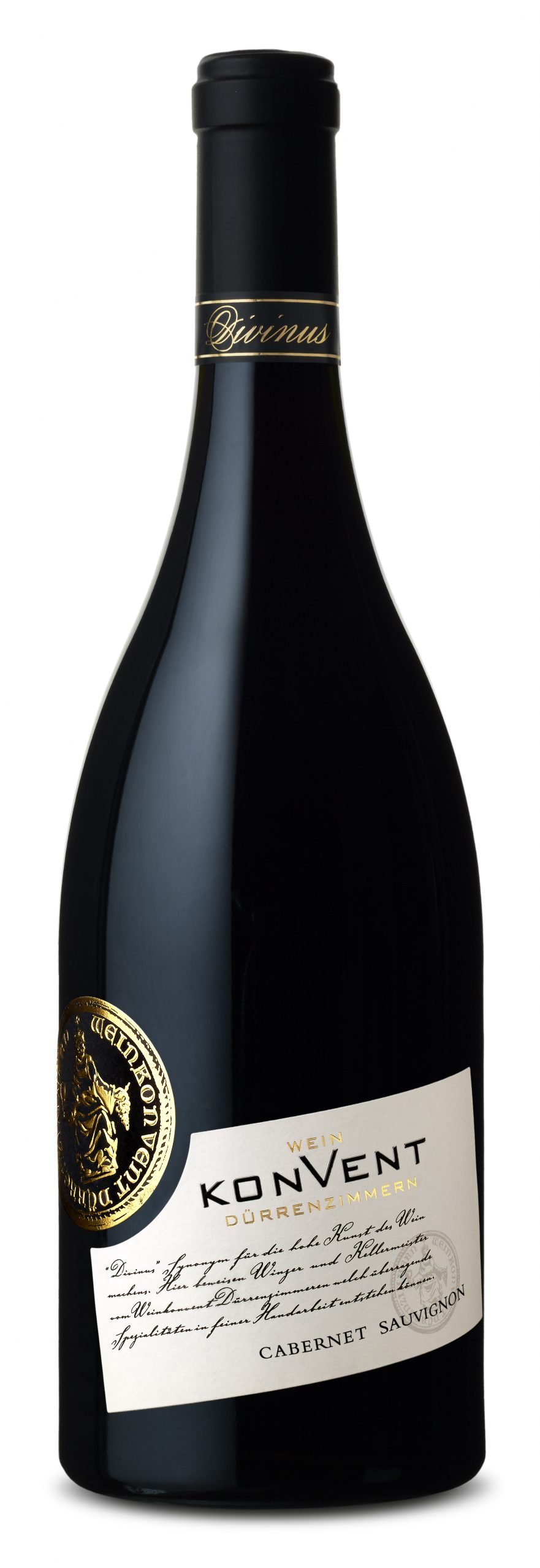 Flaschenabbildung des Divinus Cabernet Sauvignon trocken des Weinkonvent Dürrenzimmern