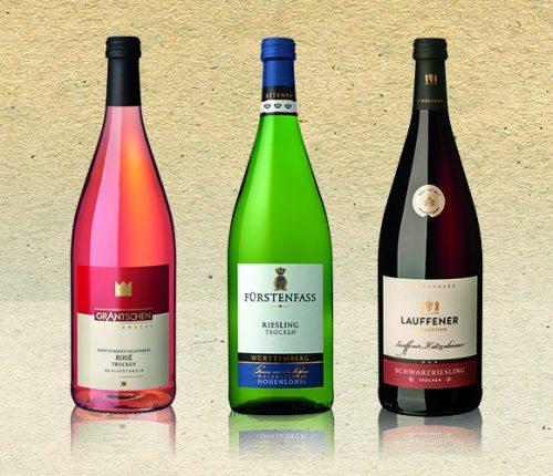 Drei Literweine der Württemberger Genossenschaften