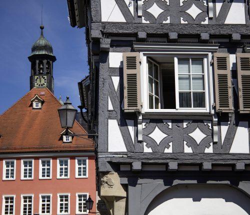 Fachwerk in Schorndorf, Detailansicht Häuserfront