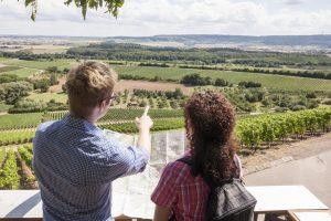 Der Württembergische Weinwanderweg. Zwei Personen schauen sich eine Karte an und schauen ins Tal hinunter