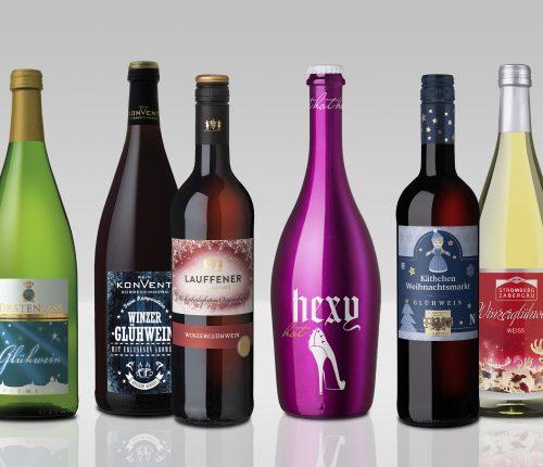 6 verschiedene Glühwein Flaschen