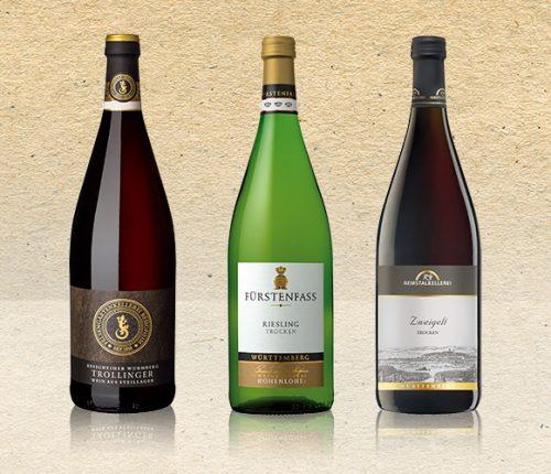 Drei Literweine aus der Weinheimat Württemberg