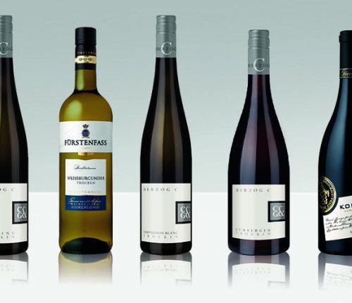 """Die fünf im Wettbewerb """"Beste Württtemberger"""" des Weinbauverbandes Württemberg ausgezeichneten Weine der Württemberger Weingärtnergenossenschaften"""