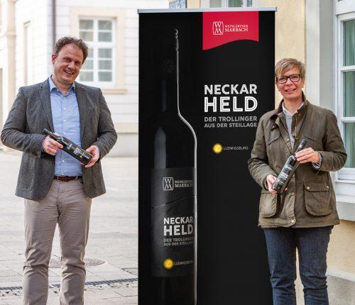 Man sieht Ludwigsburgs Oberbürgermeister Dr. Matthias Knecht, Dr. Annette Fiss, Marketingleiterin der Weingärtner Marbach und Matthias Hamer, den Vorstandsvorsitzenden der Weingärtner Marbach