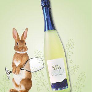 Secco Flasche, Weinglas und Hase, Illustration Frühlings-Gewinnspiel