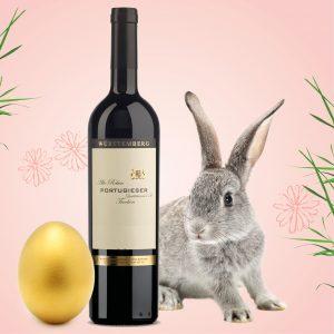 Weinflasche, goldenes Ei, Hase, Illustration zum Frühlings-Gewinnspiel im Weinheimat Blog