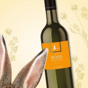 Hasenohren und Weinflasche, Illustration zum Frühlings-Gewinnspiel der Weinheimat Württemberg.