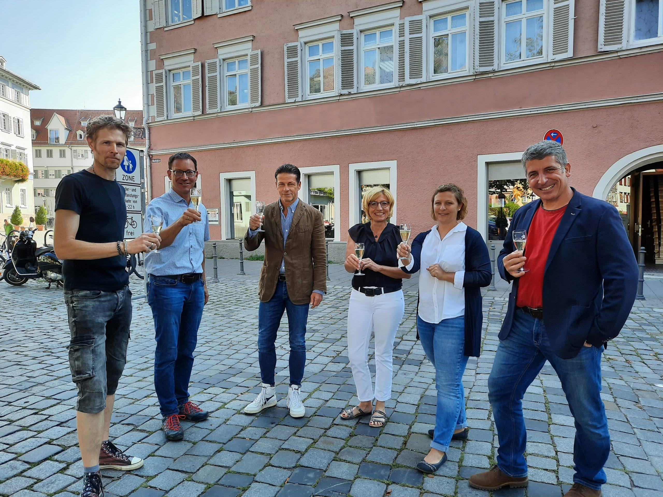 Architekt Martin Gaysert, Andreas Rapp, Frank Dittus, Brigitte Schmucker, Ramona Fischer und Achim Jahn (von links).