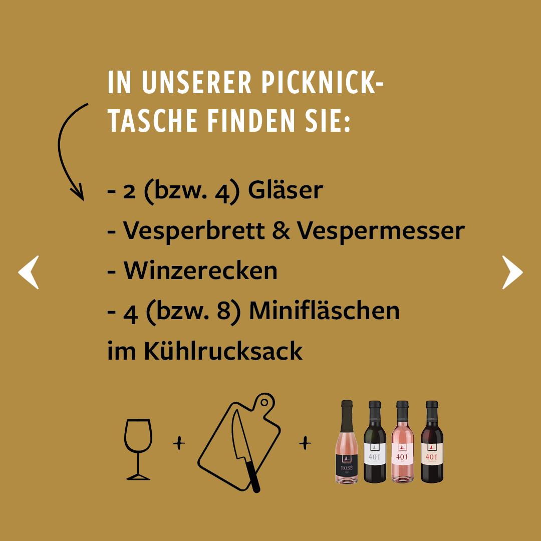 Grafische Umsetzung des Inhalts der Lembergerland Kellerei Picknick-Tasche