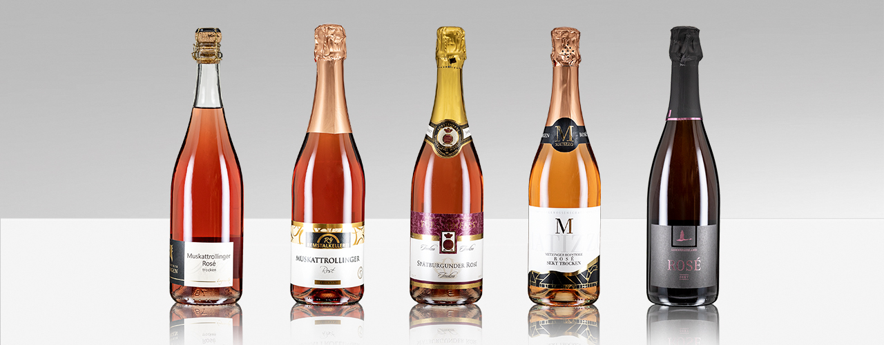 Rose Sektflaschen der Weinheimat