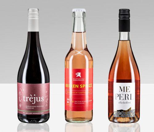 WWG Verkostung Sekt rose alkoholfrei: Sektflaschen aufgereiht