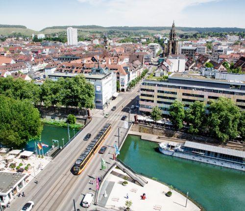 Heilbronn aus Panoramasicht von oben