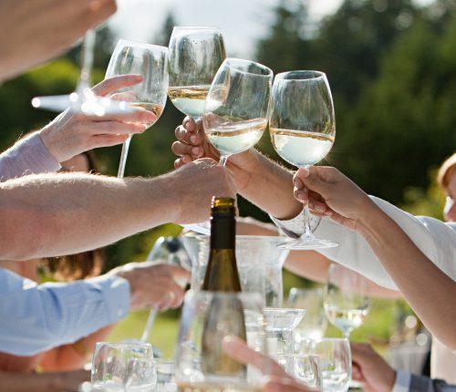 Die wichtigsten Fragen beim Wein-Tasting: Menschen die Zusammen anstoßen