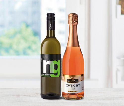 Der Next Generation Riesling trocken der Jungwinzer der Fellbacher Weingärtner und der Zweigelt Rosé Sekt extra trocken der Remstalkellerei