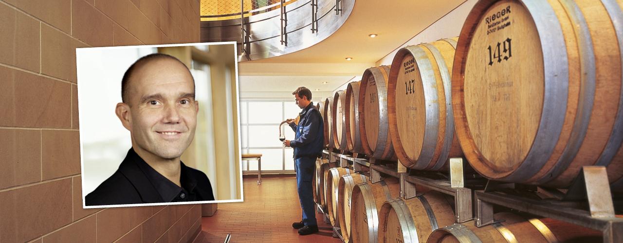 Fotocollage aus dem Weinkeller der WZG und Uwe Kämpfer, über den im Blogbeitrag berichtet wird.